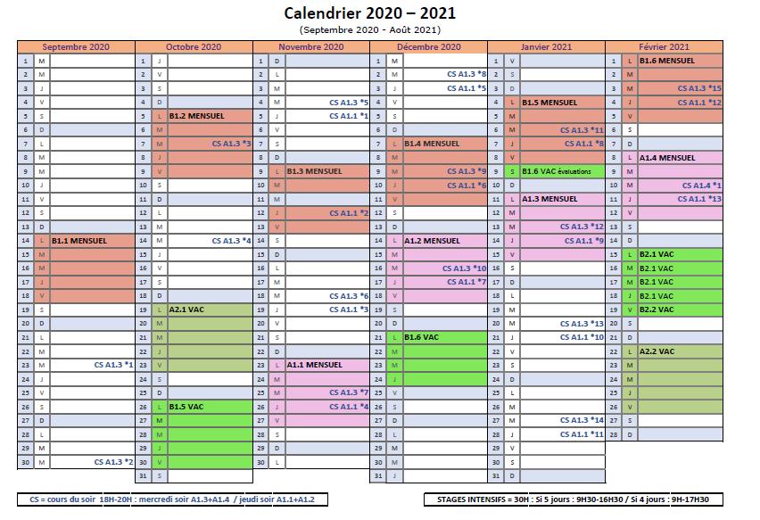 Calendrier ASA-FLSF 2020-2021