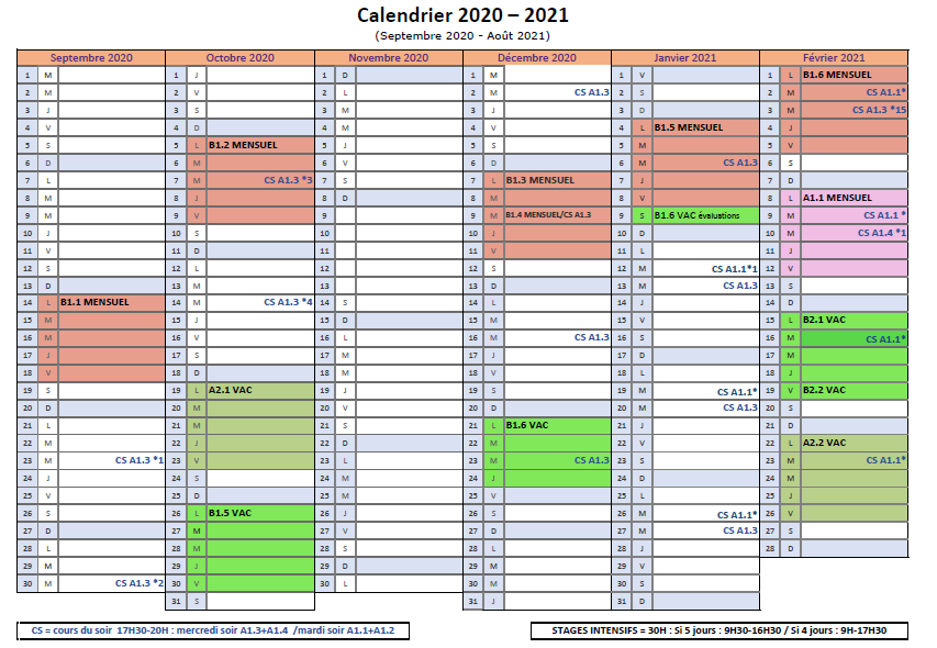 Calendrier ASA - Formation LSF 2020-2021 Suite COVID page 1